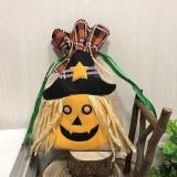 Pumpkin Paragraph Halloween Decorations Creative Cartoon Candy Gifts Kids Drawstring Tote Bag