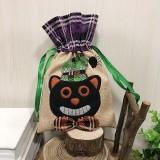 Black Cat Pattern Halloween Decorations Creative Cartoon Candy Gifts Kids Drawstring Tote Bag