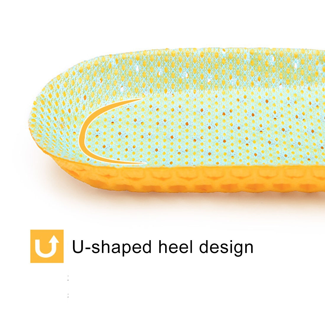 1 Pair Sports Shock Absorption Breathable Soft Thick Sweat Absorbent Insoles for Men / Women, Size: L (41-46 Yards) (Yellow)