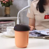 3 in 1 Multi-function USB Charge Mushroom Shape Electric Aroma Essential Ultrasonic Aromatherapy Cool Mist Humidifier with Extended USB Port (Coffee)