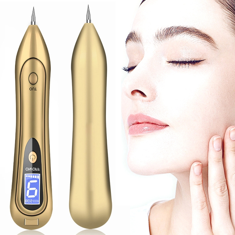 SONGSUN X2 Professional Portable Skin Spot Tattoo Freckle Removal Machine Mole Dot Removing Laser Plasma Beauty Care Pen with LCD Display Screen & 9 Gears Adjustment (Gold)