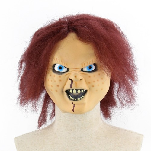Halloween Festival Party Latex Ghost Baby Frightened Mask Headgear, with Hair
