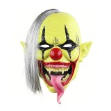 Halloween Festival Party Latex Green Face Clown Frightened Mask, with Hair