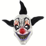 Halloween Festival Party Latex Wizard Clown Frightened Mask Headgear, with Hair
