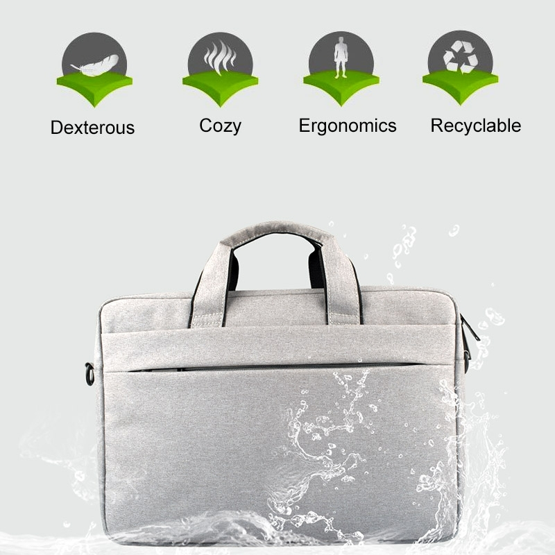 Breathable Wear-resistant Thin and Light Fashion Shoulder Handheld Zipper Laptop Bag with Shoulder Strap, For 15.6 inch and Below Macbook, Samsung, Lenovo, Sony, DELL Alienware, CHUWI, ASUS, HP (Dark Grey)