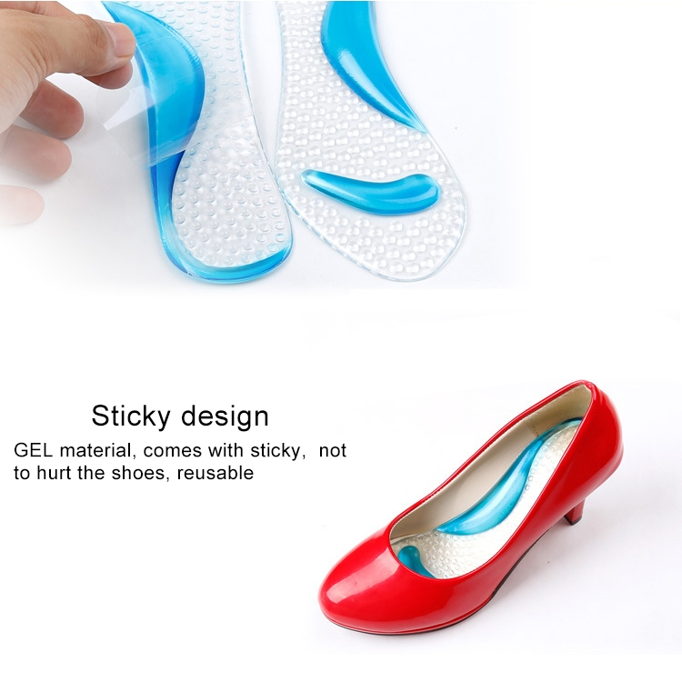 5 Pair Women Silicone Gel Massage Arch Support Insoles Orthotic Flatfoot Prevent Foot Cocoon High Heels Shoes Pad, Random Color
