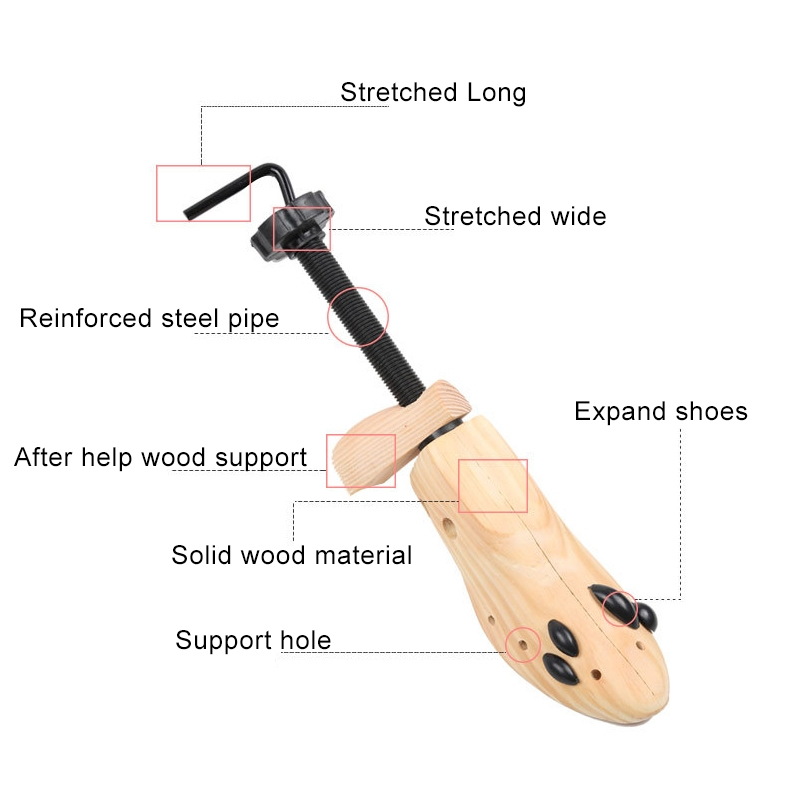Pine Wood Unisex Fixed Fits Support Stretcher Shaper Shoes Expander, Size: S 34-37Yards