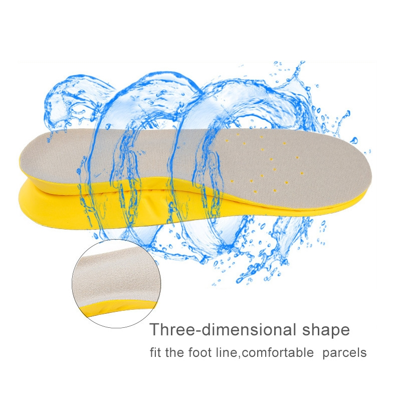 1 Pair PU Breathable Soft Sports Shock-absorbing Insole Sweat-absorbent Foot Pad Elastic Shoe Insert, Size: S (2-5 Yards) (Yellow)
