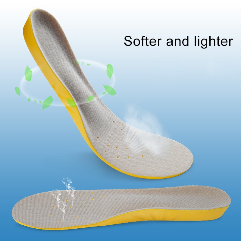 1 Pair PU Breathable Soft Sports Shock-absorbing Insole Sweat-absorbent Foot Pad Elastic Shoe Insert, Size: M (6-9 Yards) (Black)