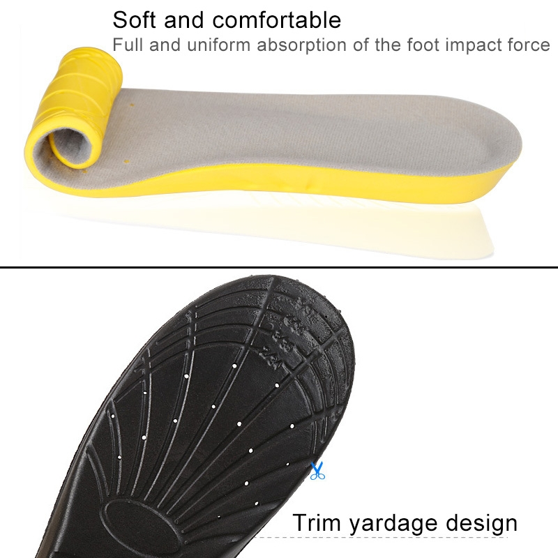 1 Pair PU Breathable Soft Sports Shock-absorbing Insole Sweat-absorbent Foot Pad Elastic Shoe Insert, Size: L (8-12 Yards) (Yellow)