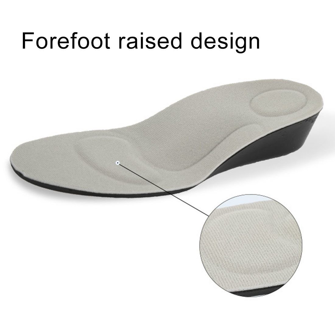 2 Pairs 2.5cm PU Breathable Sport Height Increase Insoles, Size: S