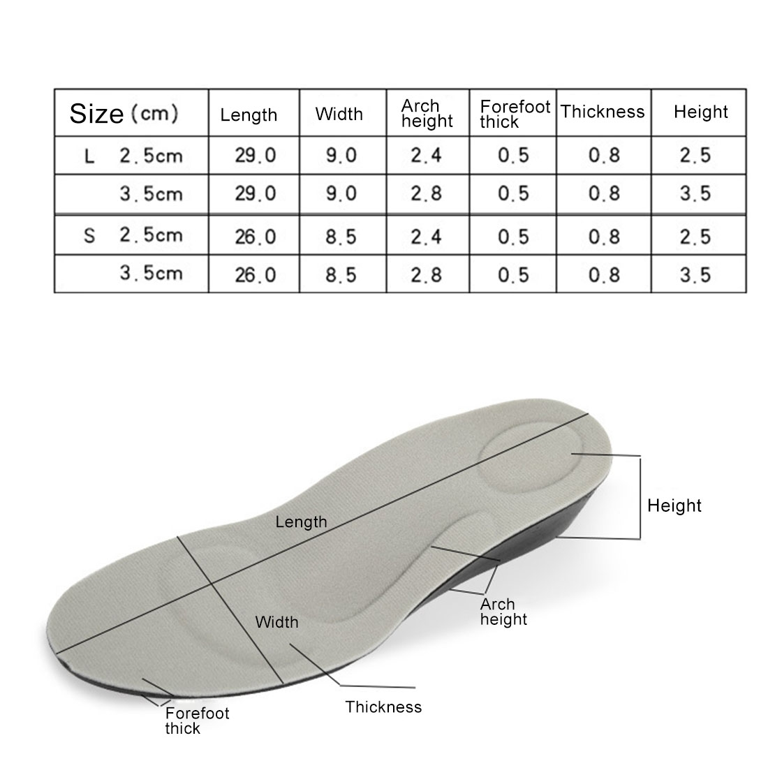 2 Pairs 3.5cm PU Breathable Sport Height Increase Insoles, Size: S