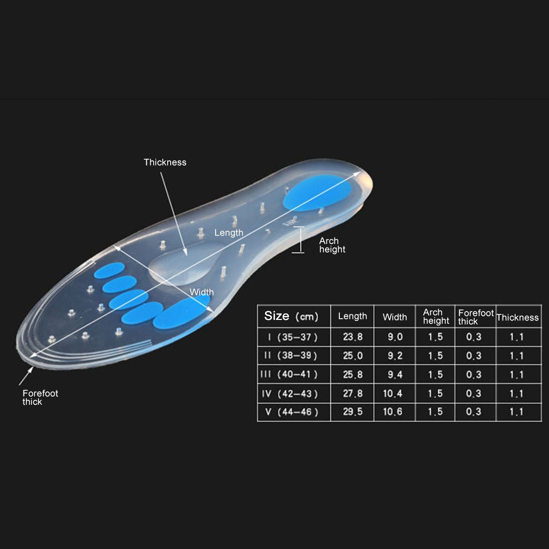 1 Pair Transparent Cushioning Silica Gel Insoles Size: 44-46yards