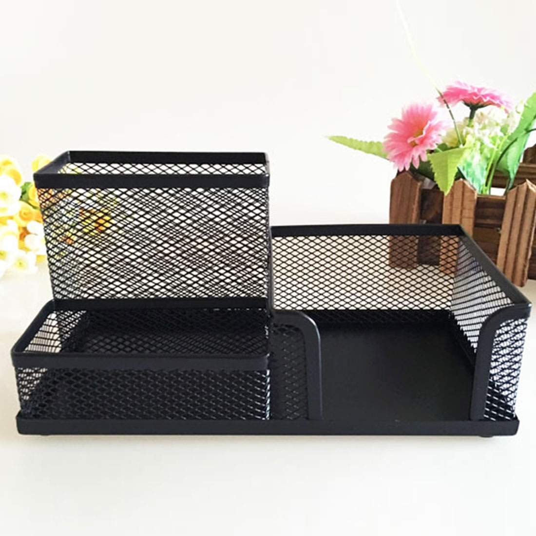 2 PCS Creative Metal Mesh Combined Pen Holder Multifunction Stationery Storage Box