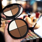 MAYCHEER V-Line Face 4 Colors Facial Makeup Highlighter Bronzer Shading Powder Palette Cosmetic (Dark Brown)