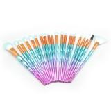 20 in 1 Diamond Handle Eye Brush Multi-functional Makeup Brush, Pink+Blue Handle and Purple Brush