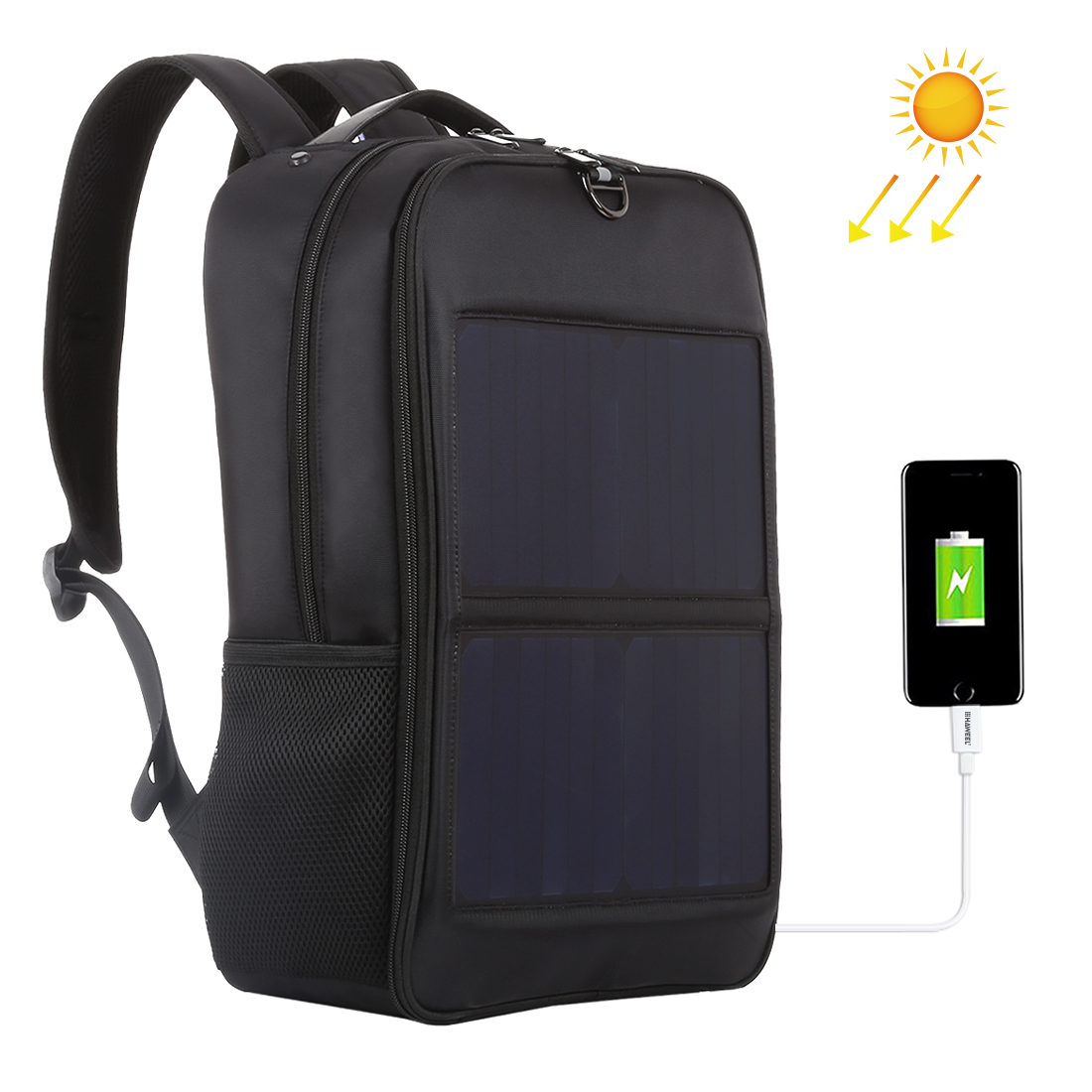 Haweel 14w Solar Panel Backpack Laptop Bag With Handle And Dual Usb Charging Port