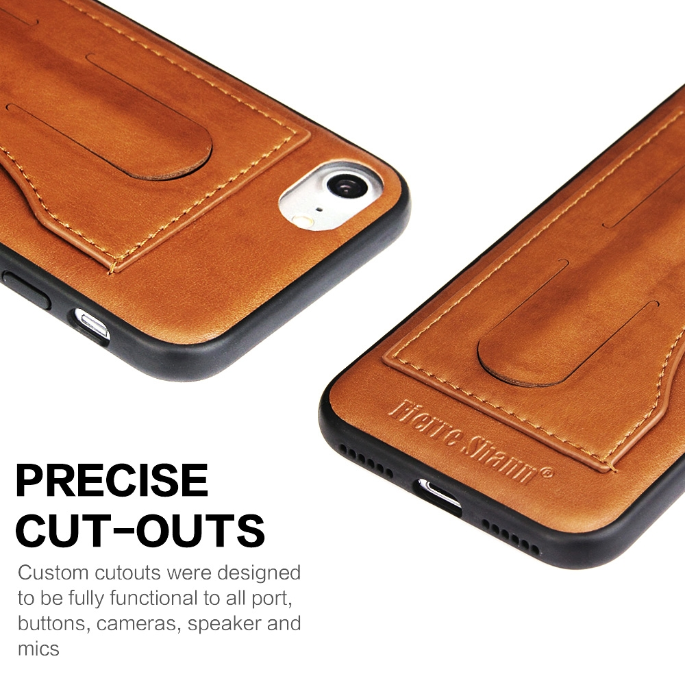Fierre Shann Full Coverage Protective Leather Case for iPhone 8 & 7, with Holder & Card Slot (Brown)