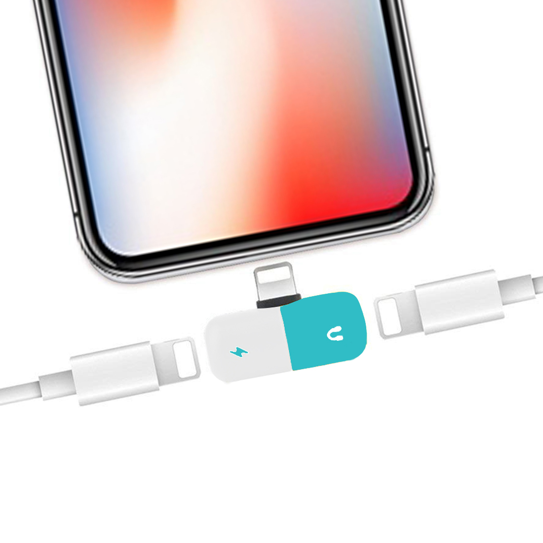 2 in 1 Dual 8 Pin Female to 8 Pin Male Pill Capsule Shape Mini Portable Audio & Charge Adapter Audio Splitter, For iPhone XS / iPhone XS Max / iPhone XR / iPhone X / iPhone 8 & 8 Plus / iPhone 7 & 7 Plus (Blue+White)