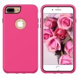 3 in 1 Solid Color Combination Case for iPhone 8 Plus & 7 Plus & 6 Plus (Magenta)