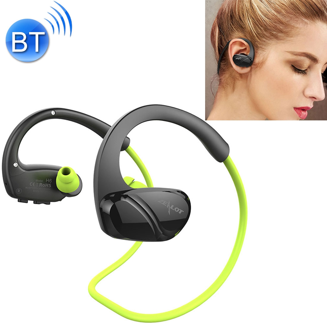 ZEALOT H6 High Quality Stereo HiFi Wireless Neck Sports Bluetooth 4.0 Earphone In-ear Headphone with Microphone, For iPhone & Android Smart Phones or Other Bluetooth Audio Devices, Support Multi-point Hands-free Calls, Bluetooth Distance: 10m (Green)
