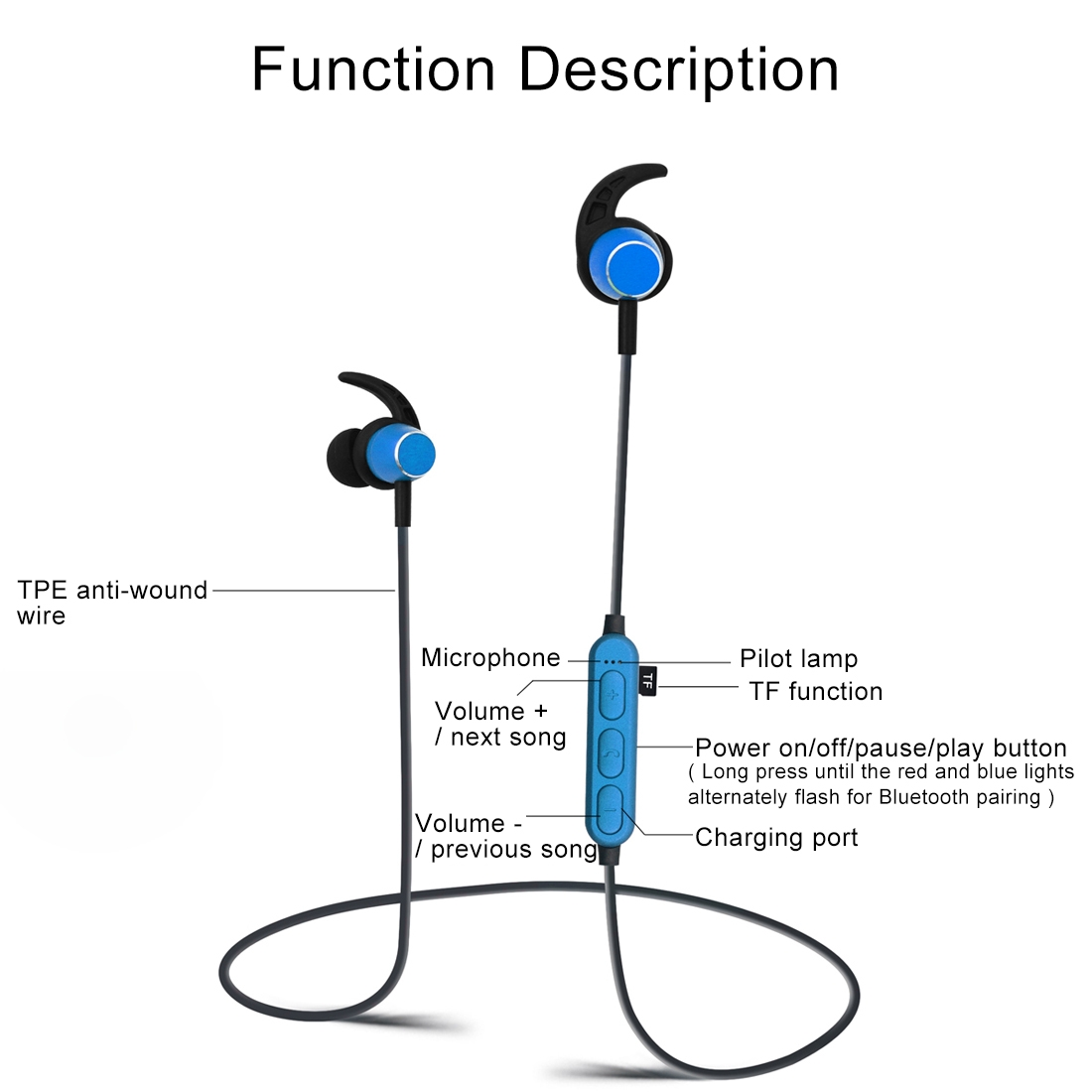 K04 Sports Sweatproof Magnetic Earbuds Wireless Bluetooth V4 2 Stereo  Headset with Mic & TF Card Slot, For iPhone, Samsung, Huawei, Xiaomi, HTC  and