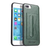 Fierre Shann Full Coverage Protective Leather Case for iPhone 8 Plus & 7 Plus, with Holder & Card Slot (Green)