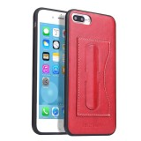 Fierre Shann Full Coverage Protective Leather Case for iPhone 8 Plus & 7 Plus, with Holder & Card Slot (Red)