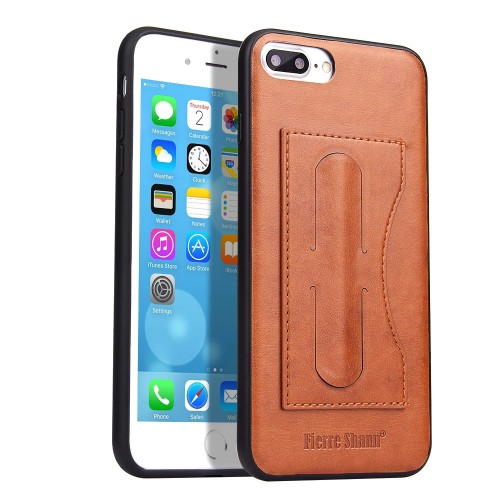 Fierre Shann Full Coverage Protective Leather Case for iPhone 8 Plus & 7 Plus, with Holder & Card Slot (Brown)