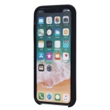 Four Corners Full Coverage Liquid Silicone Protective Case Back Cover for iPhone X / XS (Black)