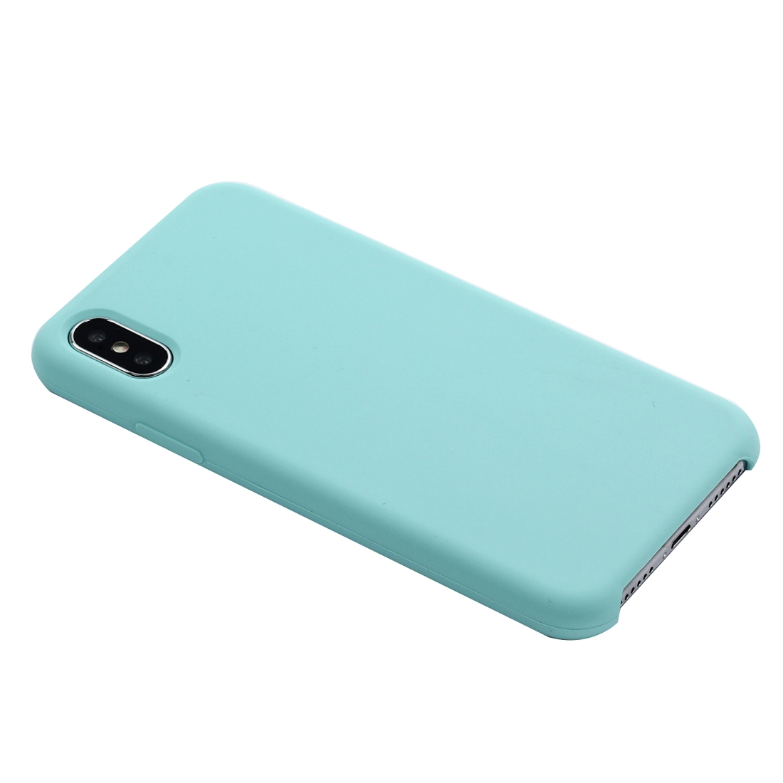 Four Corners Full Coverage Liquid Silicone Protective Case Back Cover for iPhone X / XS (Green)