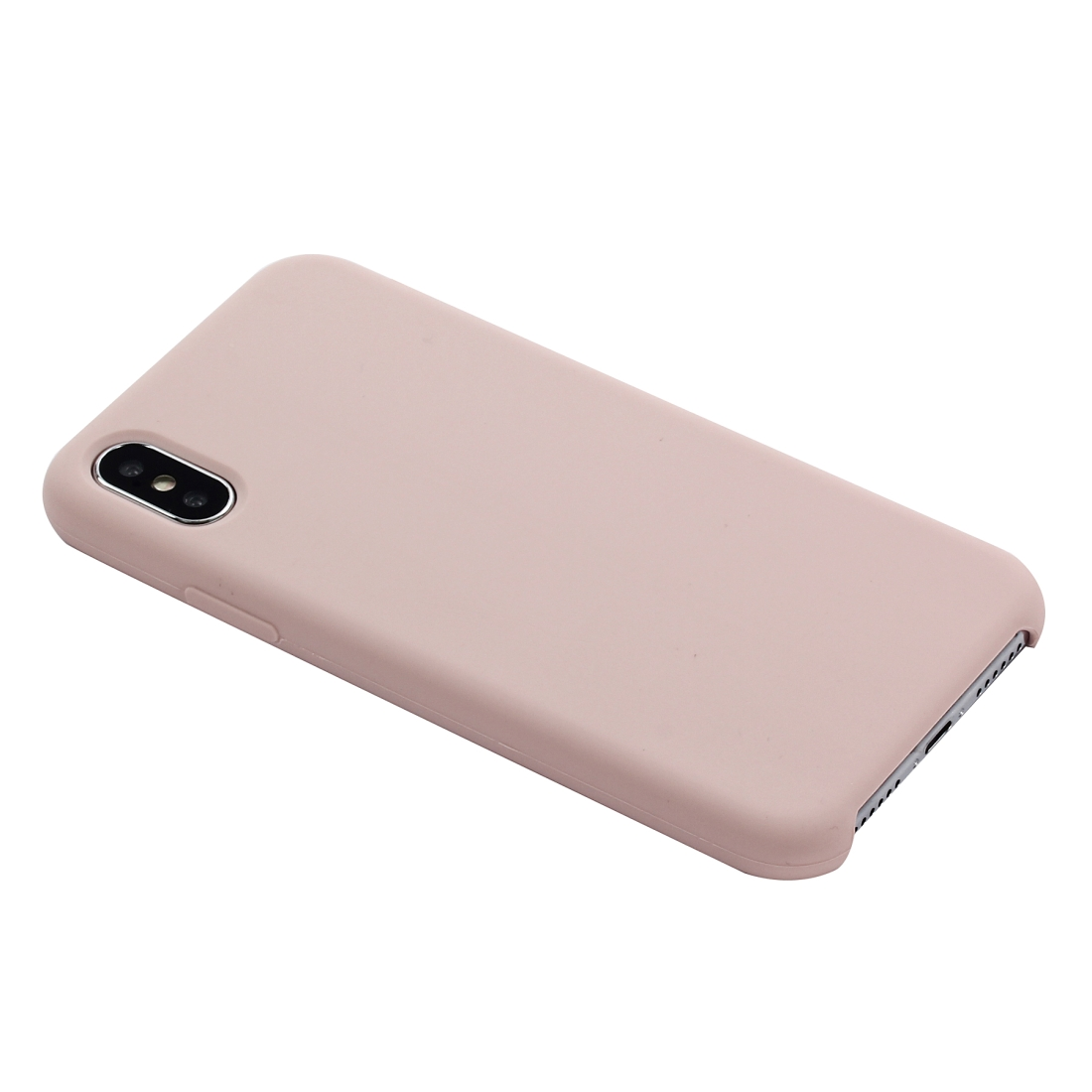 Four Corners Full Coverage Liquid Silicone Protective Case Back Cover for iPhone X / XS (Rose Gold)