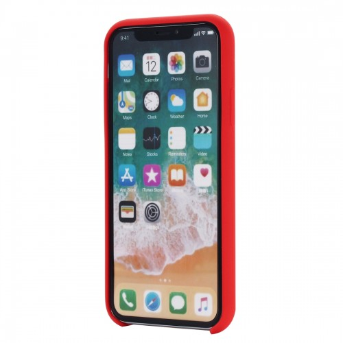 Four Corners Full Coverage Liquid Silicone Protective Case Back Cover for iPhone X / XS (Red)