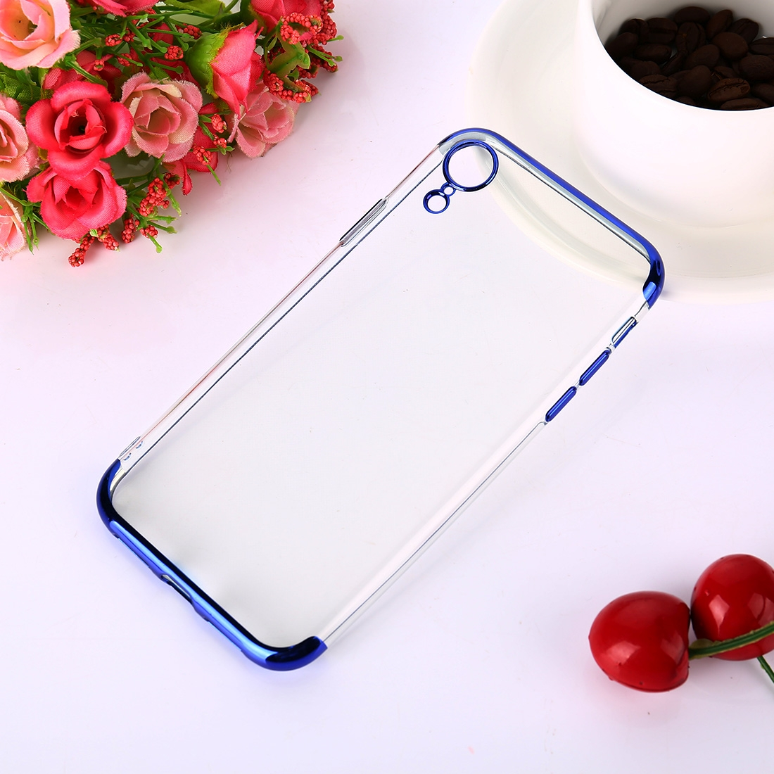 Three Sections Electroplating Side TPU Protective Back Case for iPhone XR (Blue)
