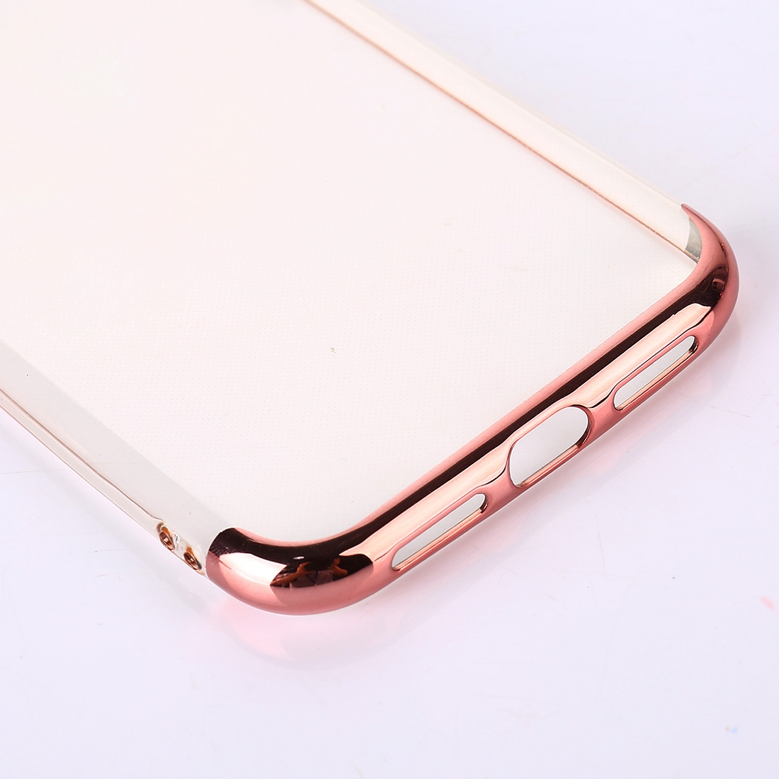 Three Sections Electroplating Side TPU Protective Back Case for iPhone XR (Rose Gold)