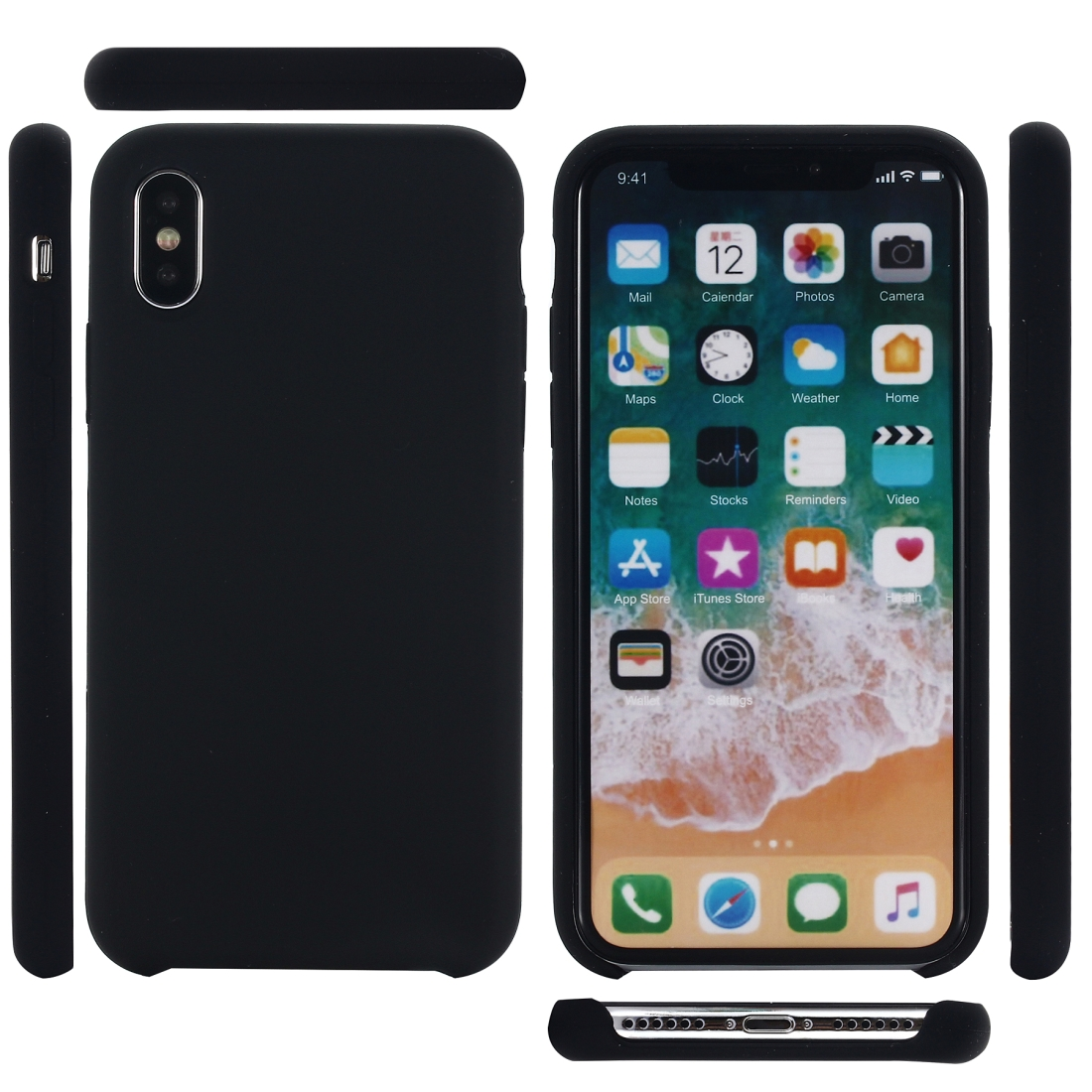 Four Corners Full Coverage Liquid Silicone Protective Case Back Cover for iPhone XS Max 6.5 inch (Black)