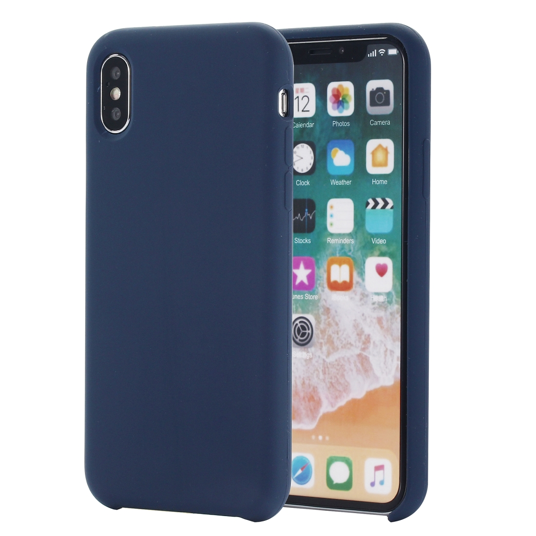 Four Corners Full Coverage Liquid Silicone Protective Case Back Cover for iPhone XS Max 6.5 inch (Blue)