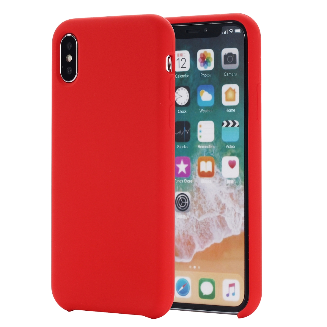 Four Corners Full Coverage Liquid Silicone Protective Case Back Cover for iPhone XS Max 6.5 inch (Red)