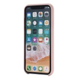 Four Corners Full Coverage Liquid Silicone Protective Case Back Cover for iPhone XS Max 6.5 inch (Rose Gold)
