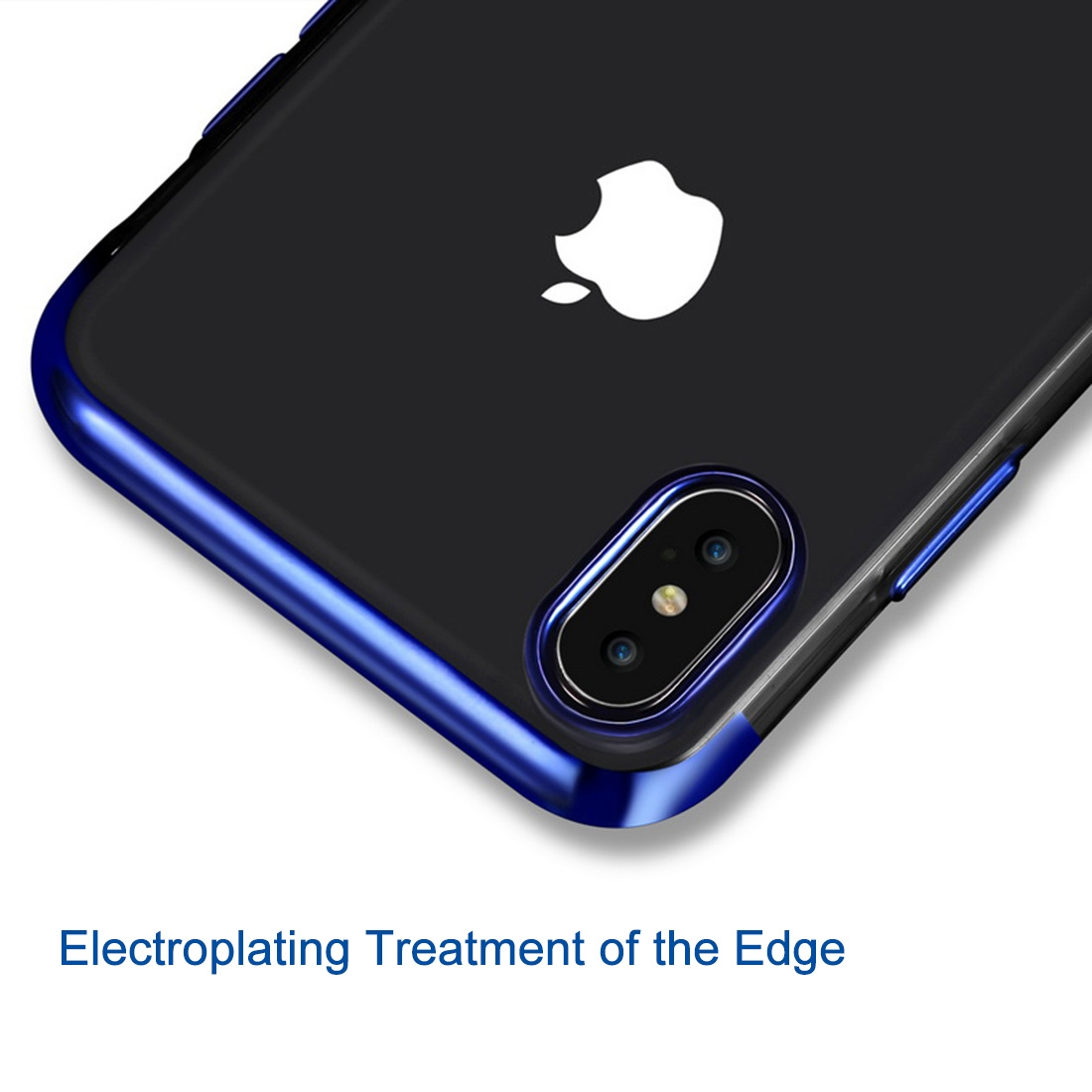 Three Sections Electroplating Side TPU Protective Back Case for iPhone XS Max (Black)