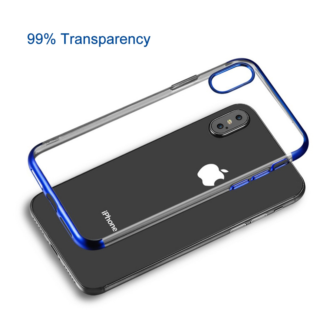 Three Sections Electroplating Side TPU Protective Back Case for iPhone XS Max (Blue)