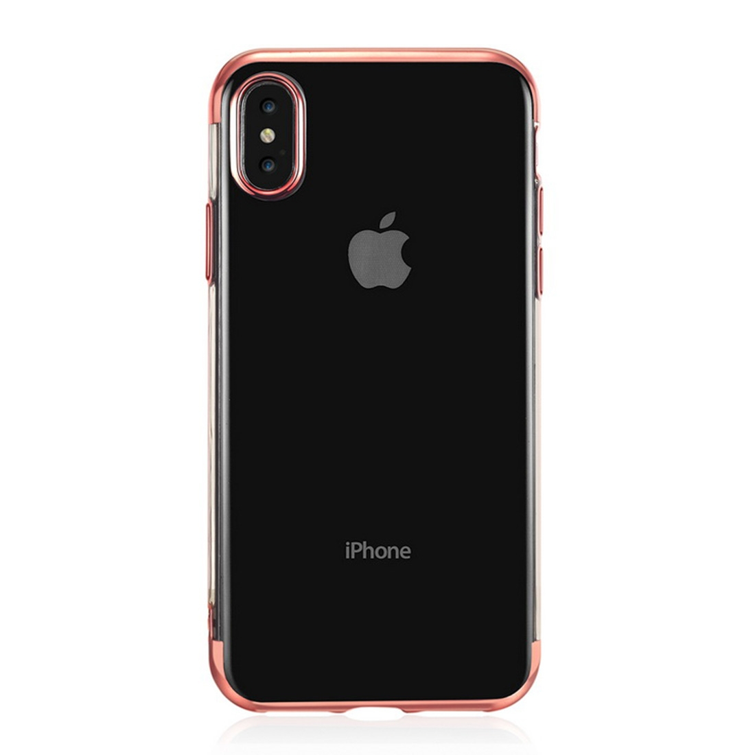 Three Sections Electroplating Side TPU Protective Back Case for iPhone XS Max (Rose Gold)