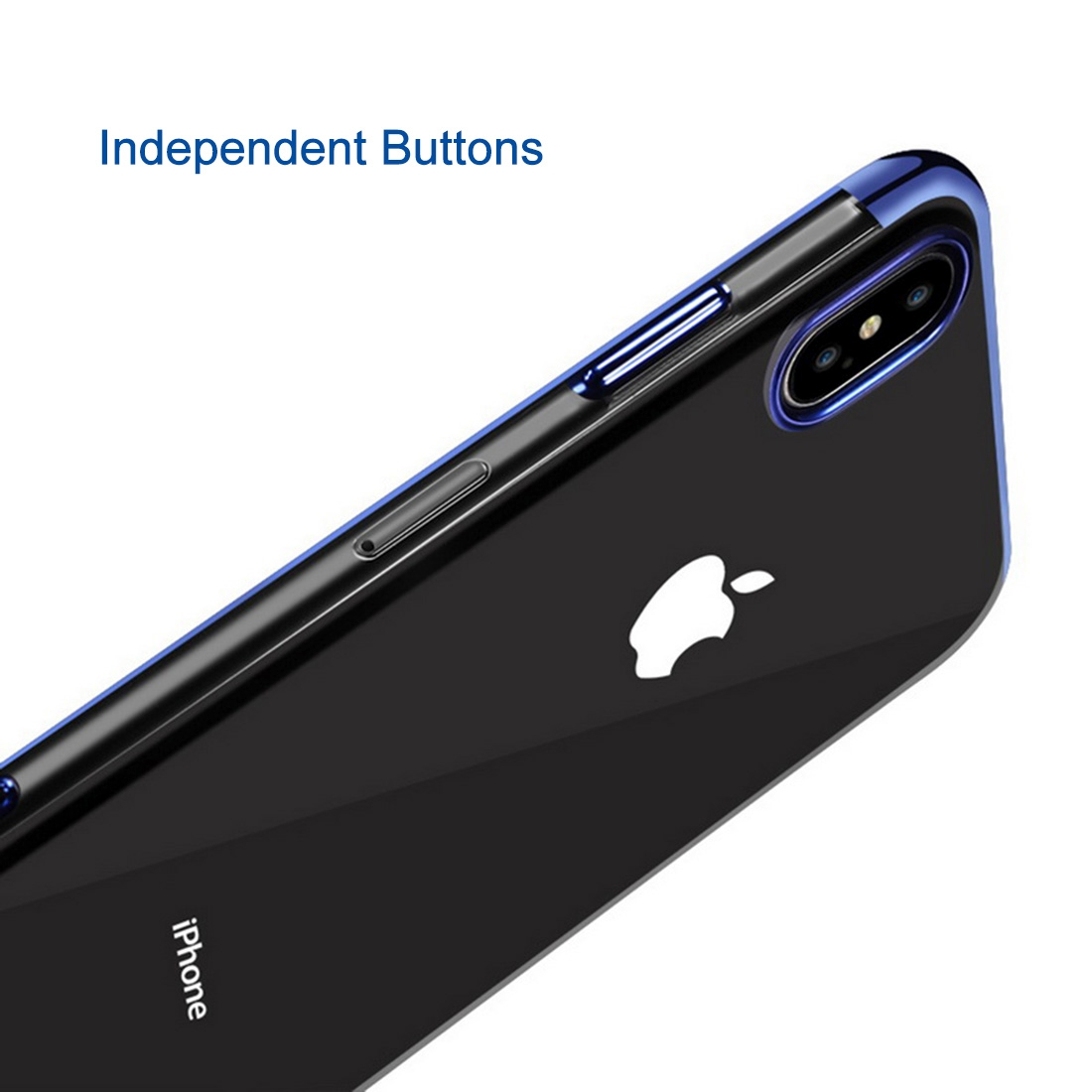 Three Sections Electroplating Side TPU Protective Back Case for iPhone XS Max (Red)
