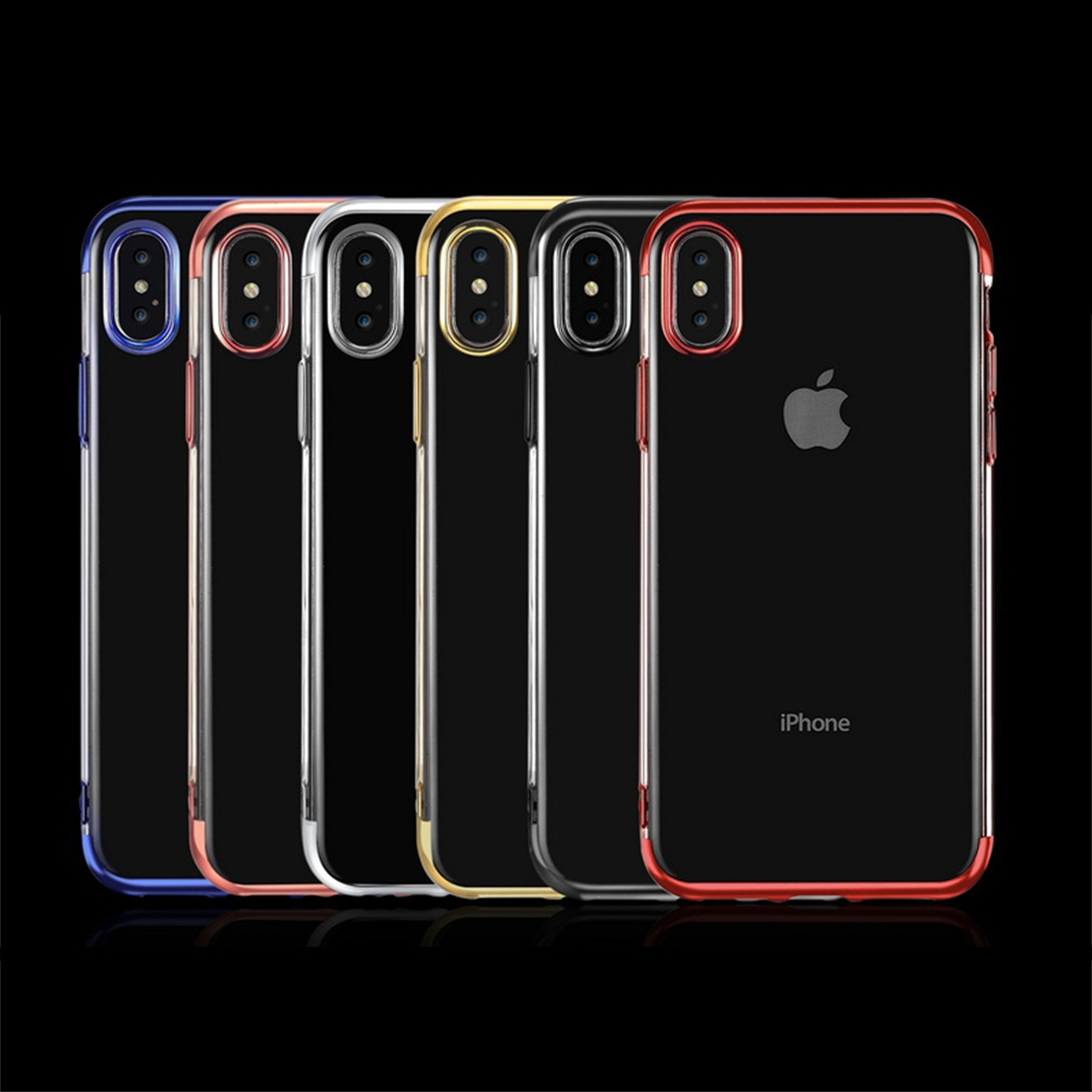 Three Sections Electroplating Side TPU Protective Back Case for iPhone XS Max (Gold)