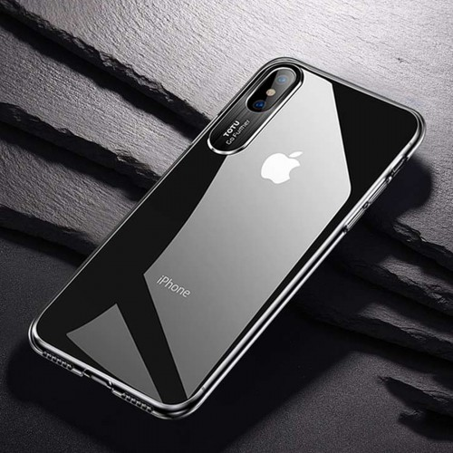 TOTUDESIGN Clear Crystal Series Transparent PC Case for iPhone XS Max (Black)
