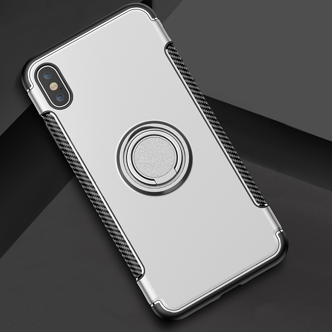Magnetic 360 Degrees Rotation Ring Armor Protective Case for iPhone XS Max  (Silver)
