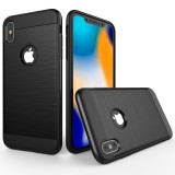 Brushed Texture Shockproof Rugged Armor Protective Case for iPhone XS Max (Black)