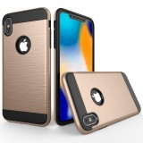 Brushed Texture Shockproof Rugged Armor Protective Case for iPhone XS Max (Gold)