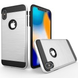 Brushed Texture Shockproof Rugged Armor Protective Case for iPhone XS Max (White)