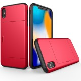 Shockproof Rugged Armor Protective Case for iPhone XS Max, with Card Slot (Red)